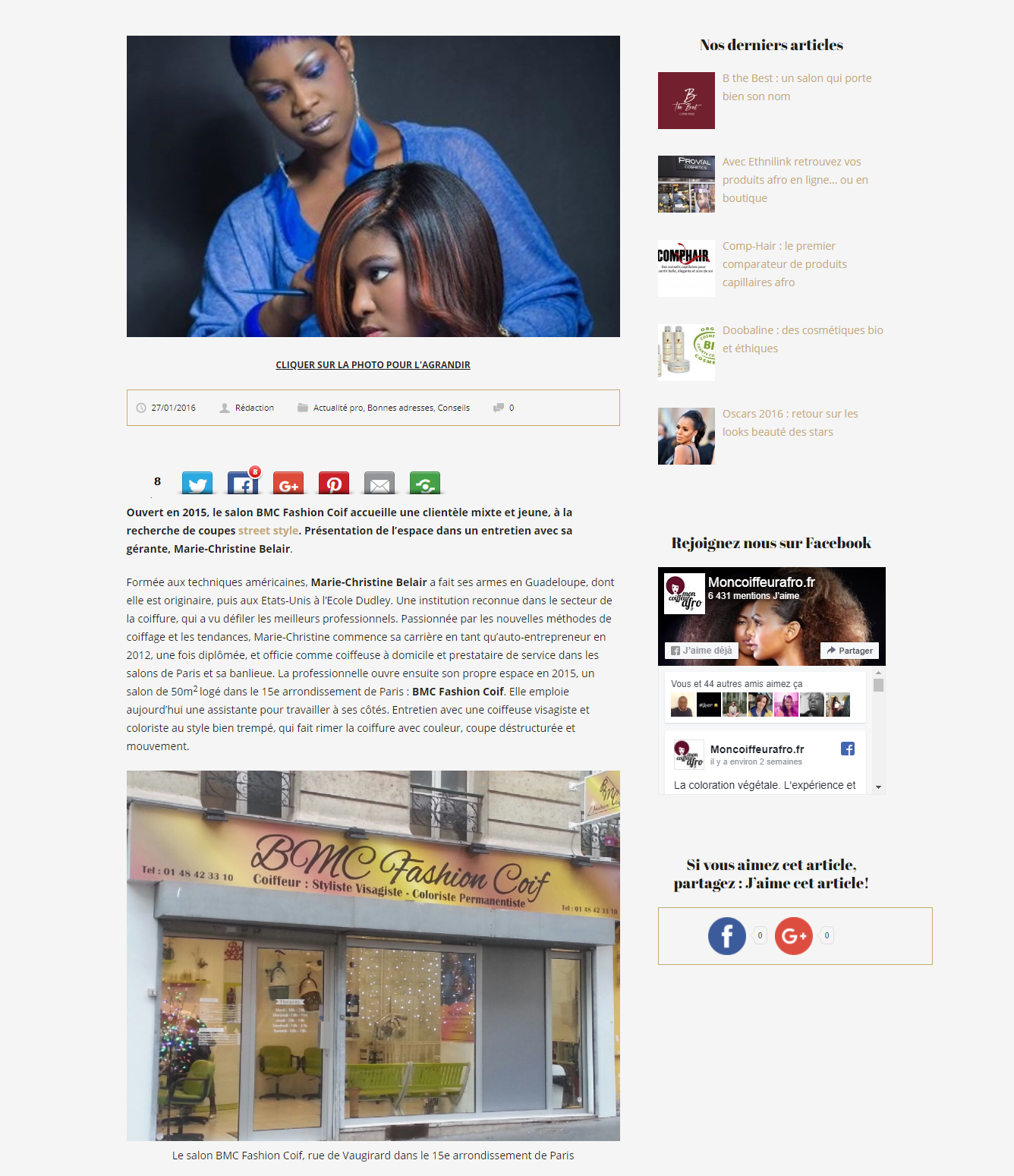 Article BMC Fashion Coif salon afro à Paris